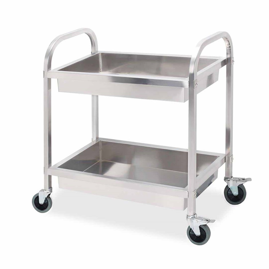 SOGA 2 Tier S/S Kitchen Trolley Bowl Collect Service FoodCart 95x50x95cm Lg