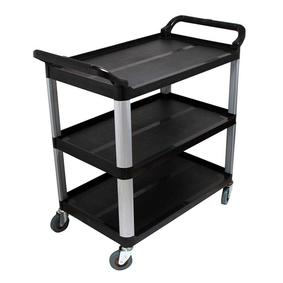 SOGA 3 Tier Trolley Food Waste Cart Strge Mech Kitchen Blk 83.5x43x95cm Sml