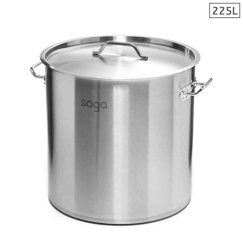 SOGA Stock Pot 225Lt Top Grade Thick S/S Stockpot 60CMX80CM 18/10