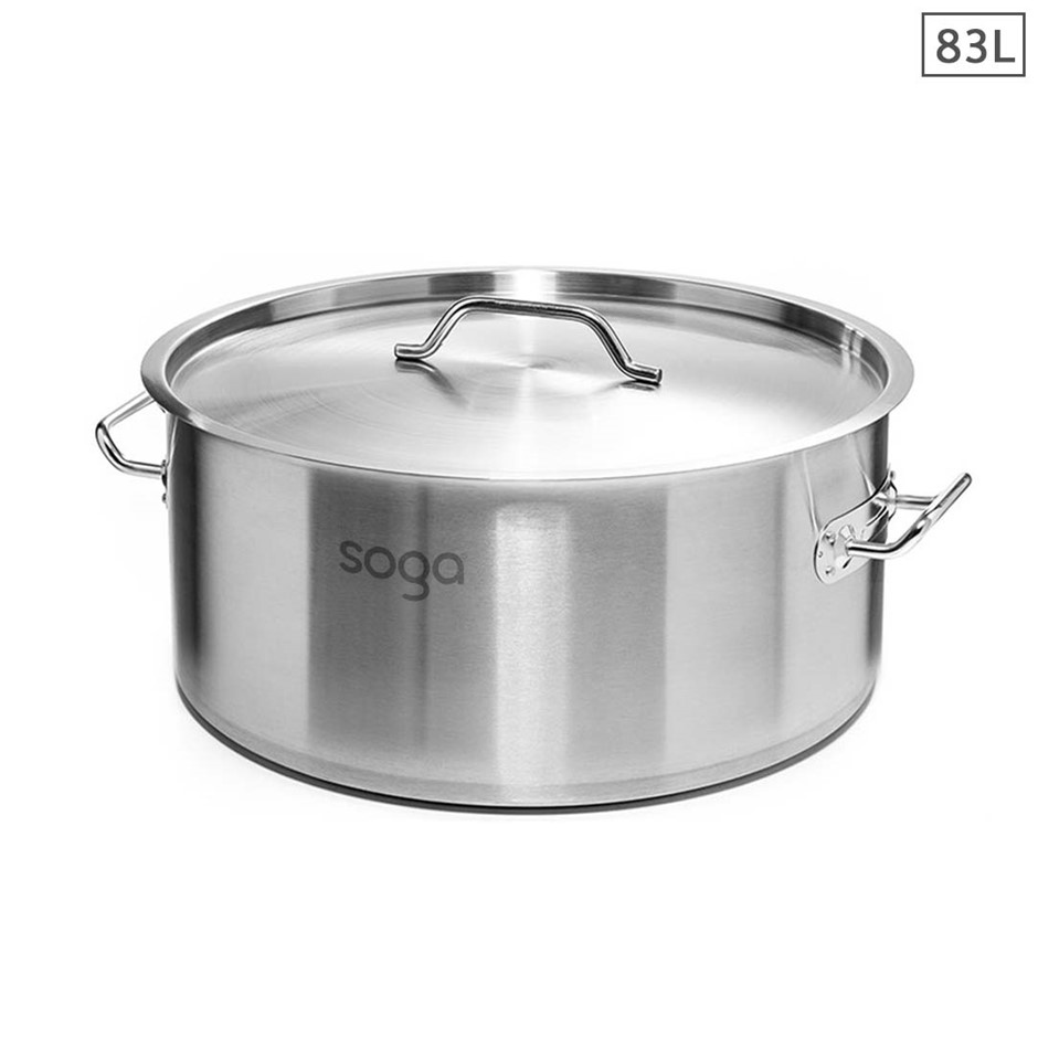 SOGA Stock Pot 83Lt Top Grade Thick Stainless Steel 18/10 RRP $505