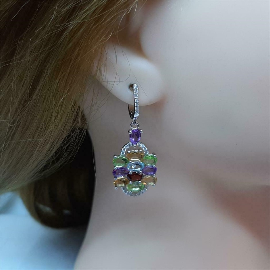 Gorgeous Genuine Multi Gemstone Drop Earrings.