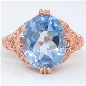 Spectacular Genuine Blue Topaz Statement Ring