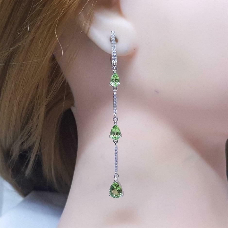 Striking Genuine Peridot Drop Earrings