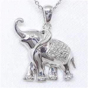 So Cute Genuine Diamond Elephant Pendant & Chain.