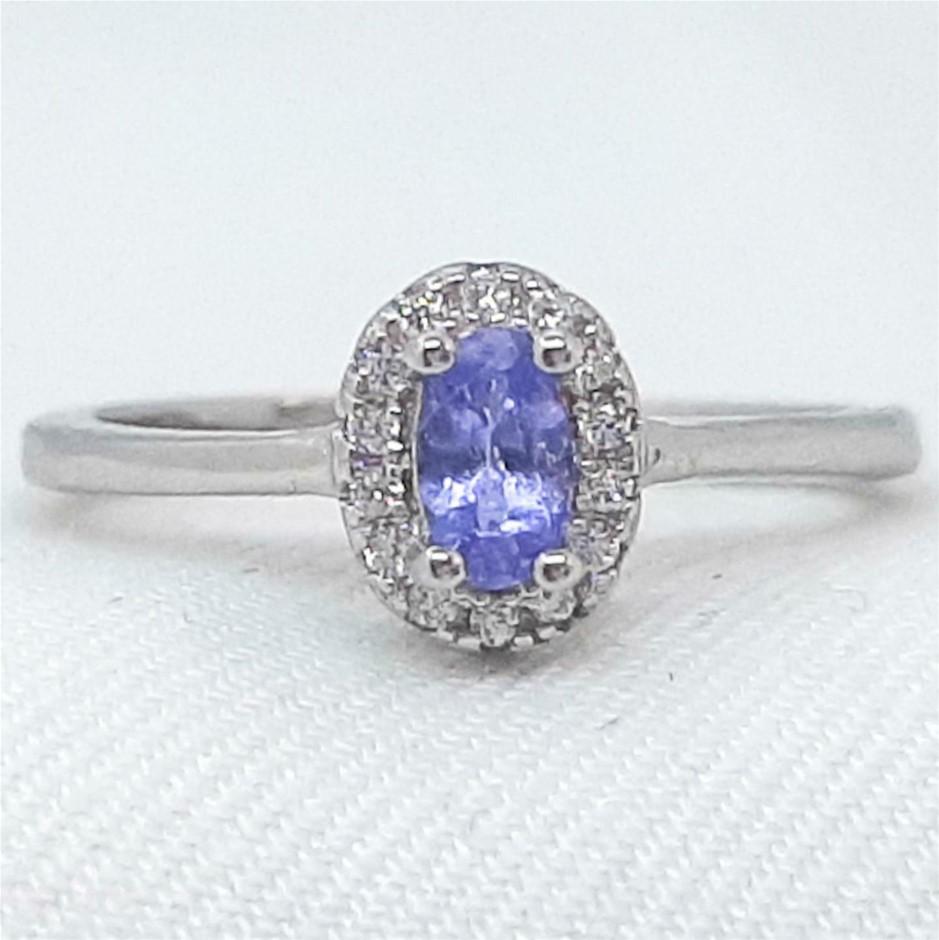 Glorious Genuine Cornflower Blue Tanzanite Ring.
