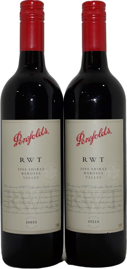 Penfolds RWT Shiraz 2004 (2x 750mL), SA . Screwcap.