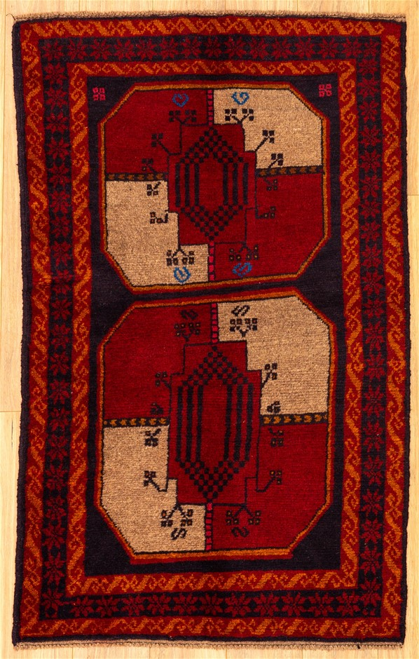 Handknotted Pure Wool Persian Baluchi Rug - Size 142cm x 86cm