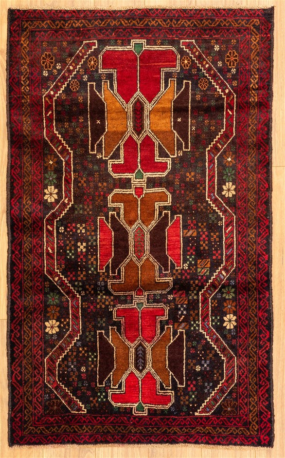 Handknotted Pure Wool Fine Persian Baluchi Rug - Size 140cm x 86cm
