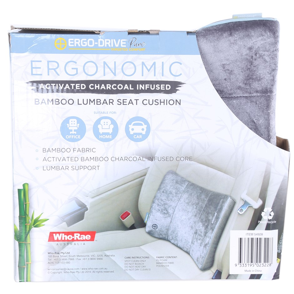 ERGO-DRIVE PURE Targeted Comfort Ergonomic Activated Charcoal Infused Bambo