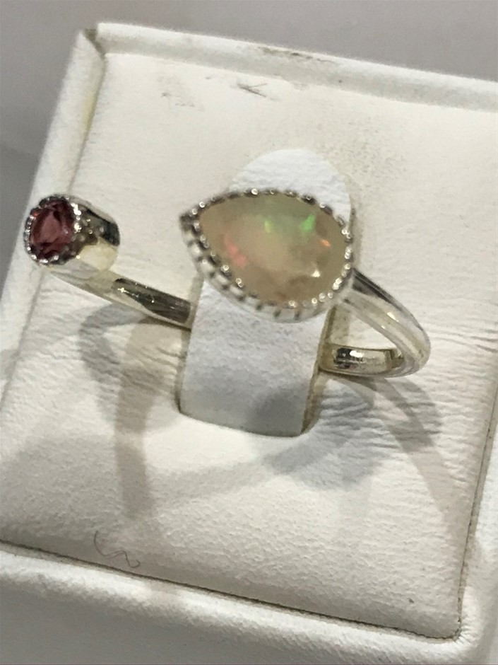 Handcrafted Ethiopian Opal and Garnet Ring Size N (7)