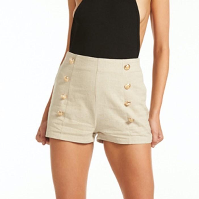 LIONESS Palermo Short. Size XS, Colour: Light Khaki. Buyers Note - Discount