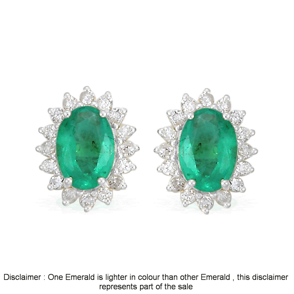 9ct White Gold, 2.21ct Emerald and Diamond Earring