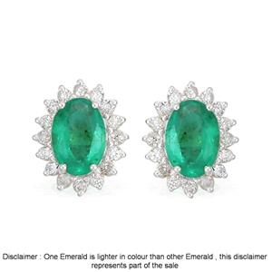 9ct White Gold, 2.21ct Emerald and Diamo