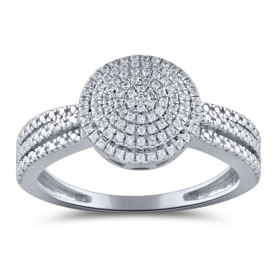 9ct White Gold, 0.13ct Diamond Ring