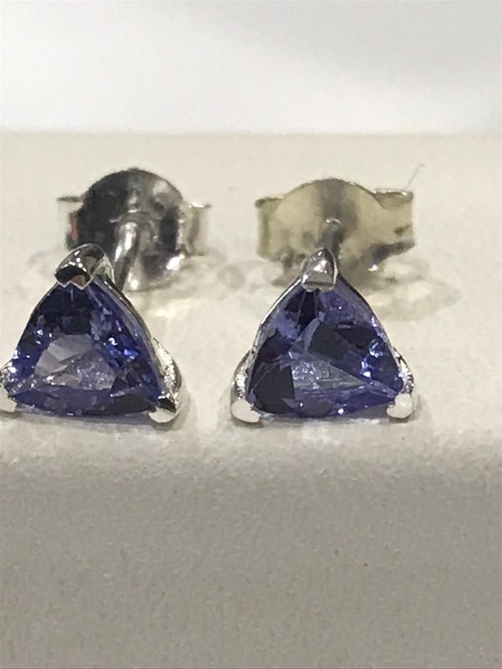 Glorious 1.00ctTanzanite & 18K W/Gold Vermeil Stud Earrings