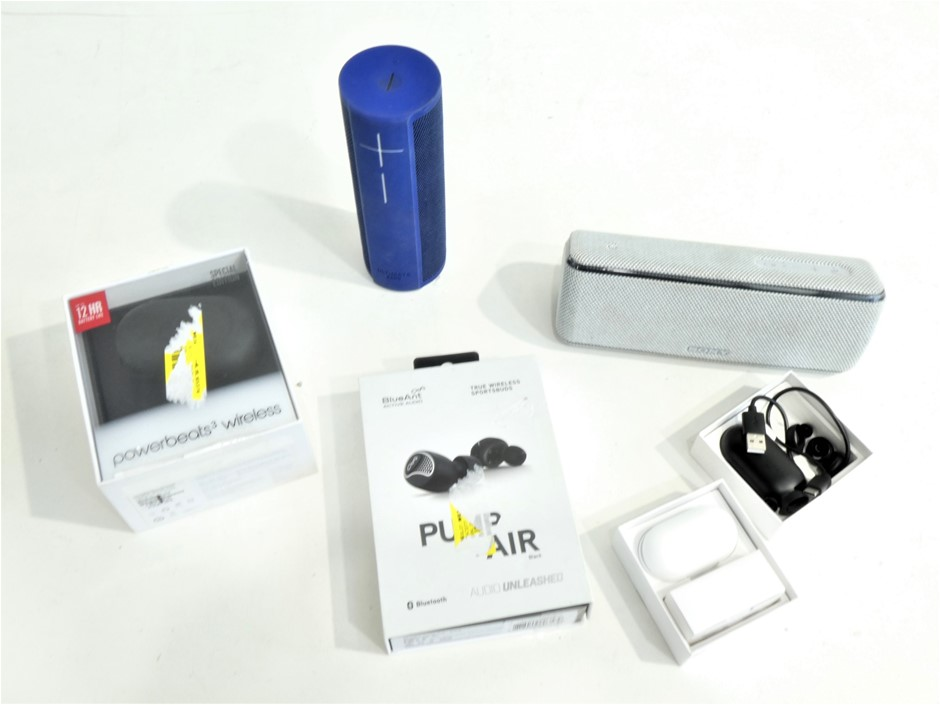 Box Containing ASSORTED USED & UNTESTED WIRELESS AUDIO EQUIPMENT