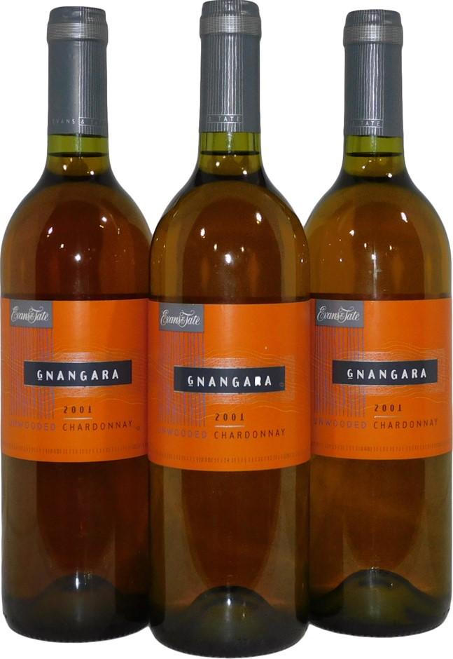 Evans & Tate Gnangara Unwooded Chardonnay 2001 (3x 750mL), Margaret River