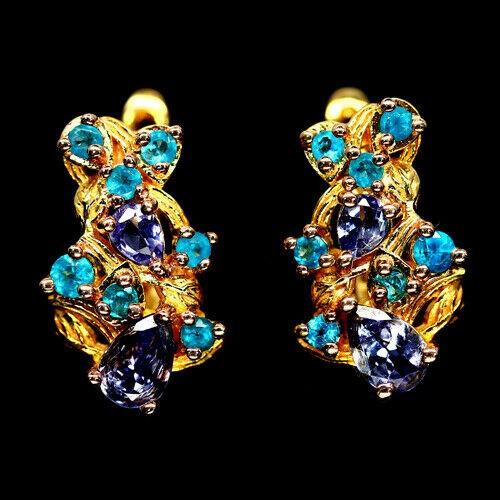 Unique Genuine Tanzanite & Apatite Huggie Earrings.