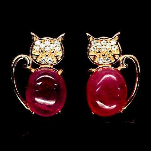 Cute Genuine Ruby Kitty Earrings.
