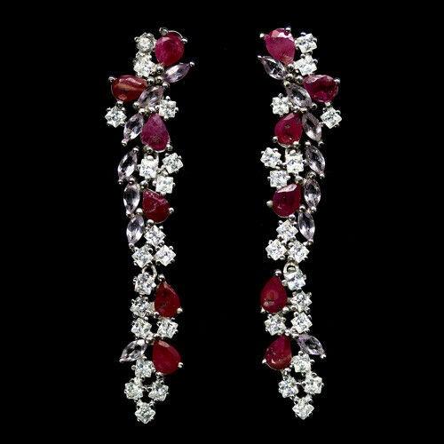 Delightful Genuine Ruby & Amethyst Drop earrings