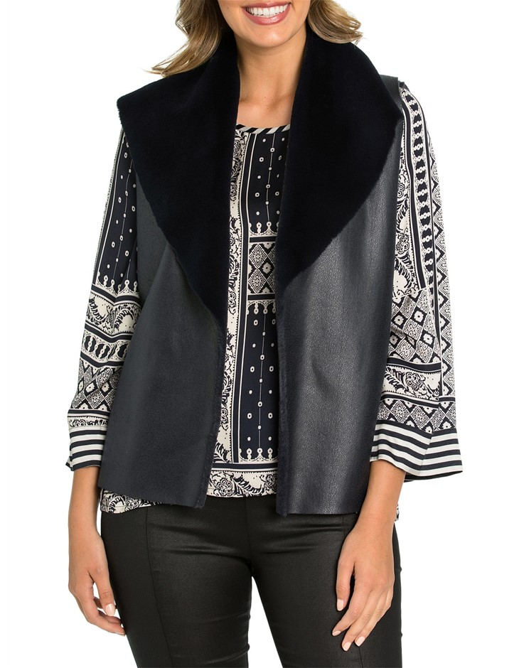 MARCO POLO Winter Luxe Vest. Size 12, Colour: Navy. Buyers Note - Discount