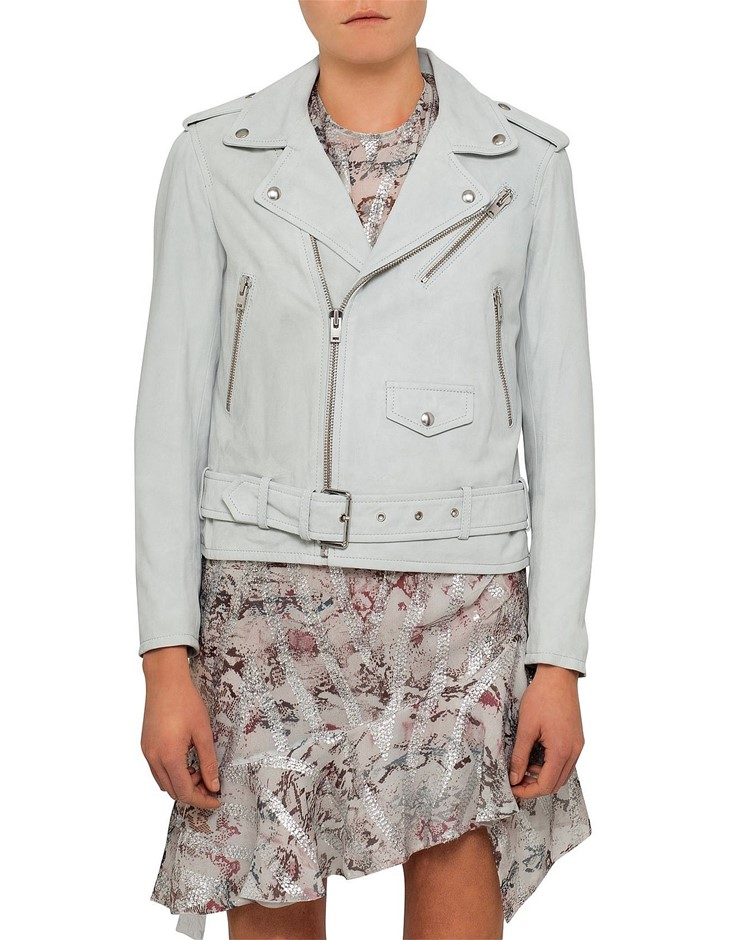 IRO Guape Suede Jacket. Size 38, Colour: Light Blue. 100% Lamb Leather. ORP