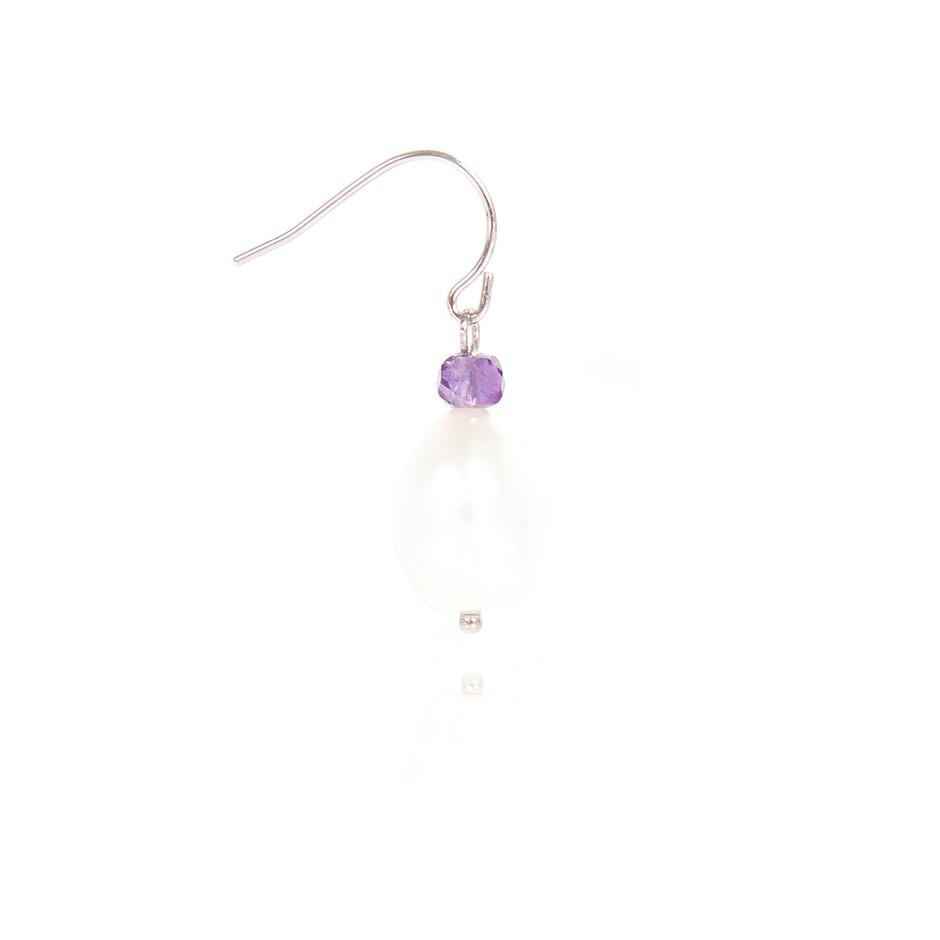 Freshwater Pearl & Faceted Amethyst Set Sterling 925 Silver Drop Earrings