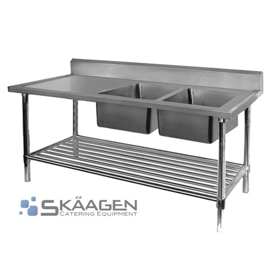 Unused Double Right 1700 x 600 Stainless Steel Sink FSA-2-1700R