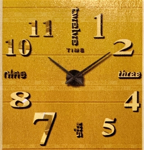 Small size stick on wall clock - gold to
