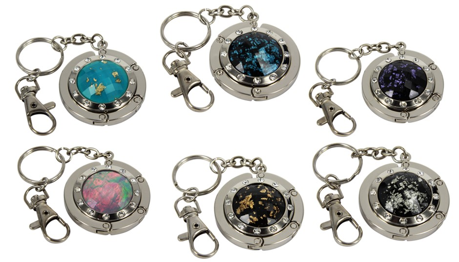 5 x HANDBAG HOLDER WITH KEY RING, CHAIN & CLIP (45mm):