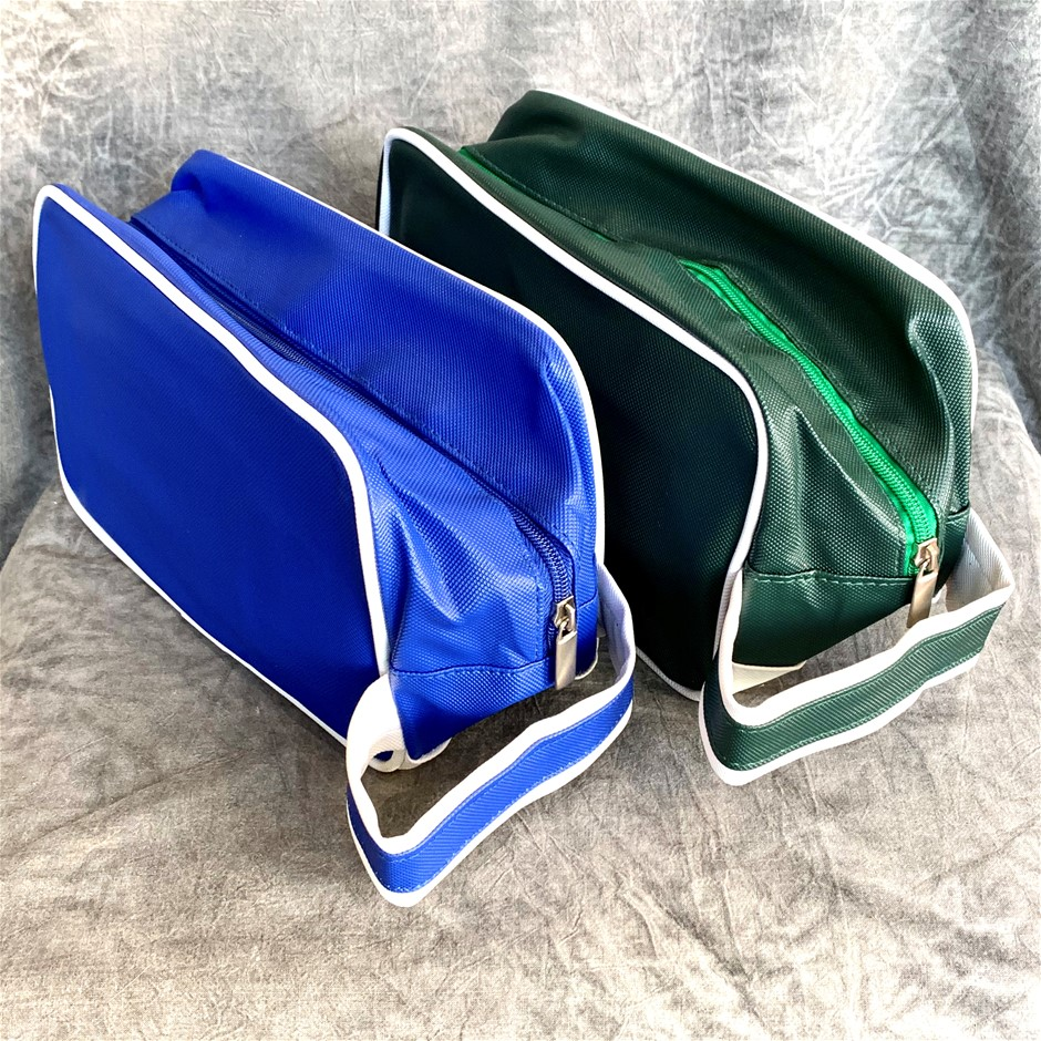 2 x Men's Waterproof Toiletry Bag (257mm x 135mm x 158mm): Blue + Green
