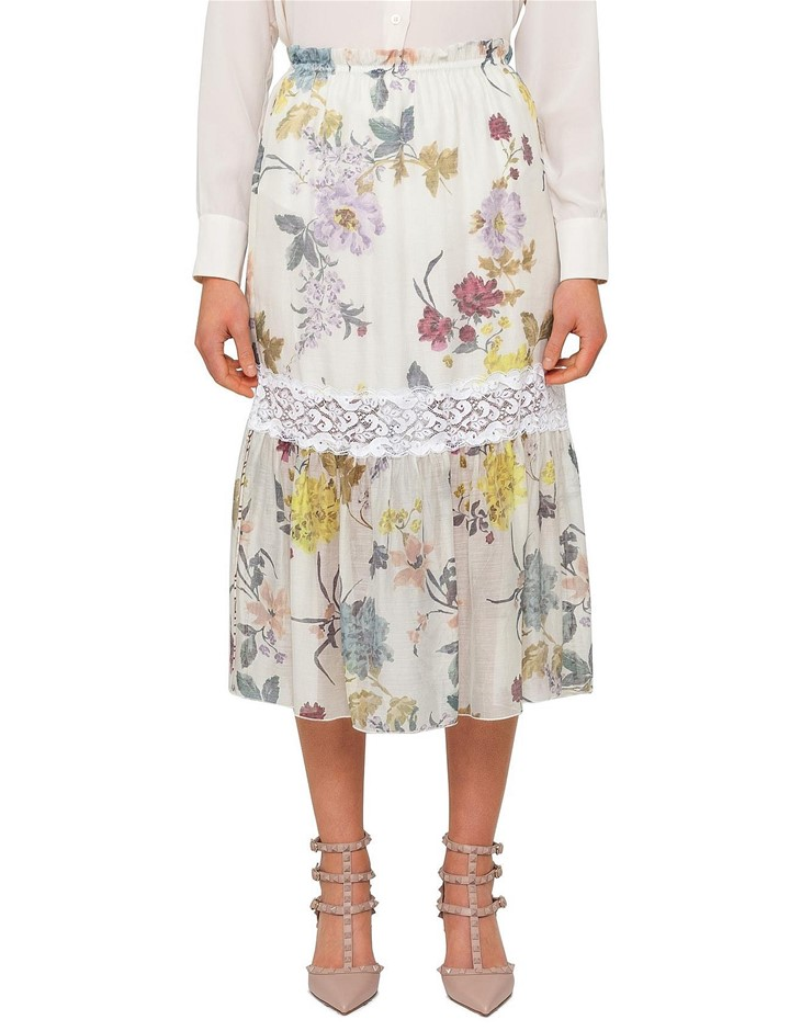 SEE BY CHLOE Floral Patchwork Organza Midi Skirt. Size 36, Colour: Multi Co