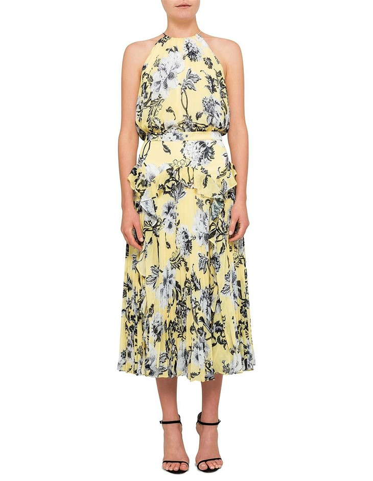 LOVER Dhalia Pleat Midi Sleeveless Dress. Size 12, Colour: Yellow. ORP: $55
