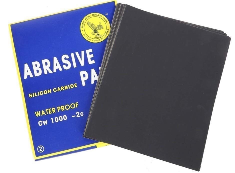100 x Sheets Abrasive Paper, Waterproof Silicon Carbon Grit 1000, Sheet Siz