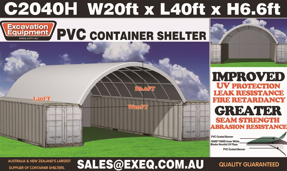 2021 Unused Heavy duty 40ft Container shelter with endwall, 20ft Wide