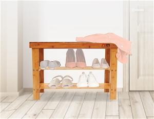 3 Tier Shoe Rack Bamboo Wooden Storage S