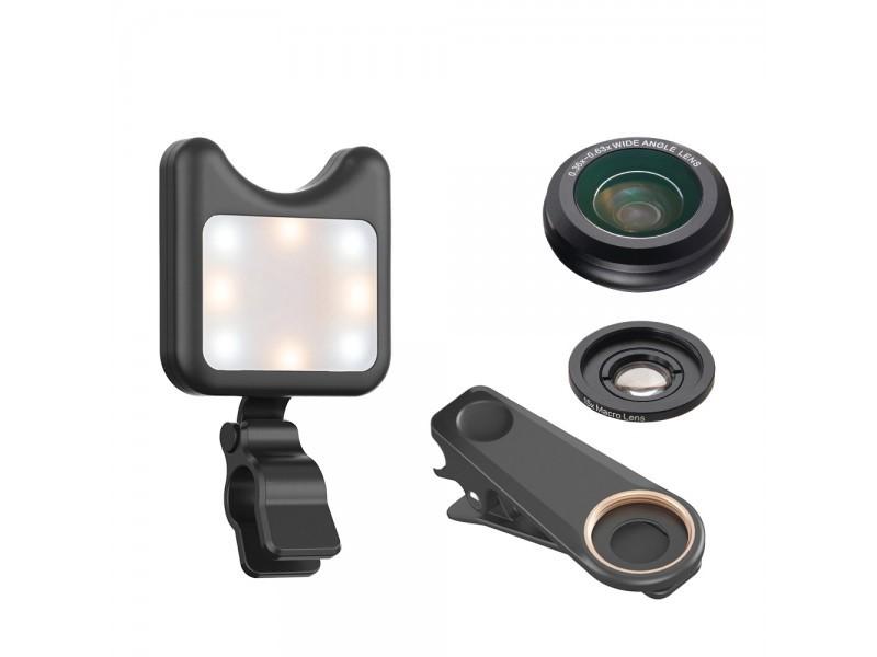 SONIQ Phone lens & Led Fill Light Wi th 9 Lighting Modes