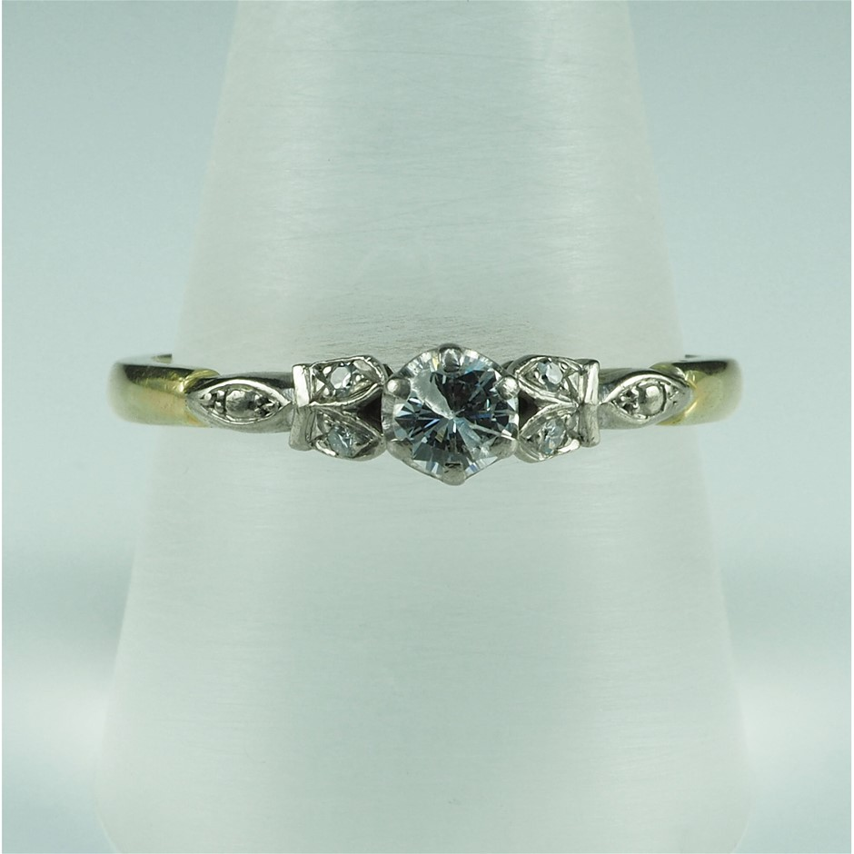 18ct Yellow & White Gold, 0.26ct Diamond Engagement Ring