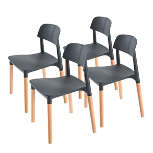 4X Belloch Stackable Dining Chair - BLAC