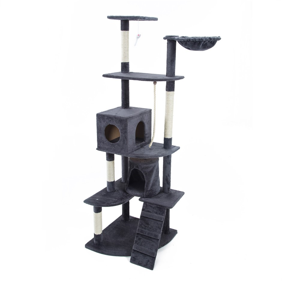 190cm Cat Tree Scratcher ACACIA - GREY