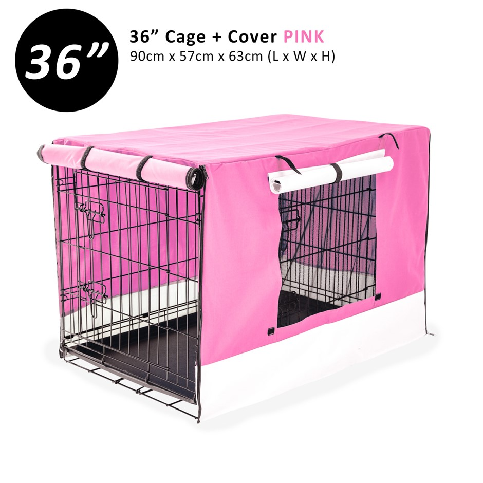 """36"""" Foldable Wire Dog Cage with Tray + PINK Cover"""