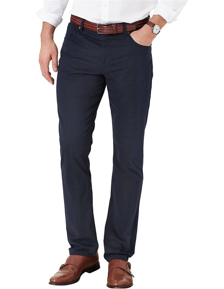 GAZMAN Tapered Soft Touch 5 Pocket. Size 102, Colour: Navy. 98% Cotton, 2%