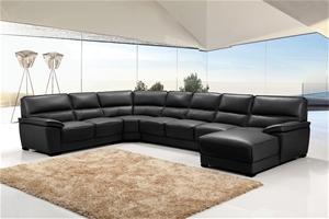 stylish black sofa is fully upholstered