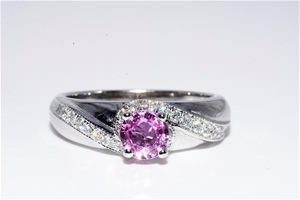 14ct White Gold, 0.98ct Pink Sapphire an