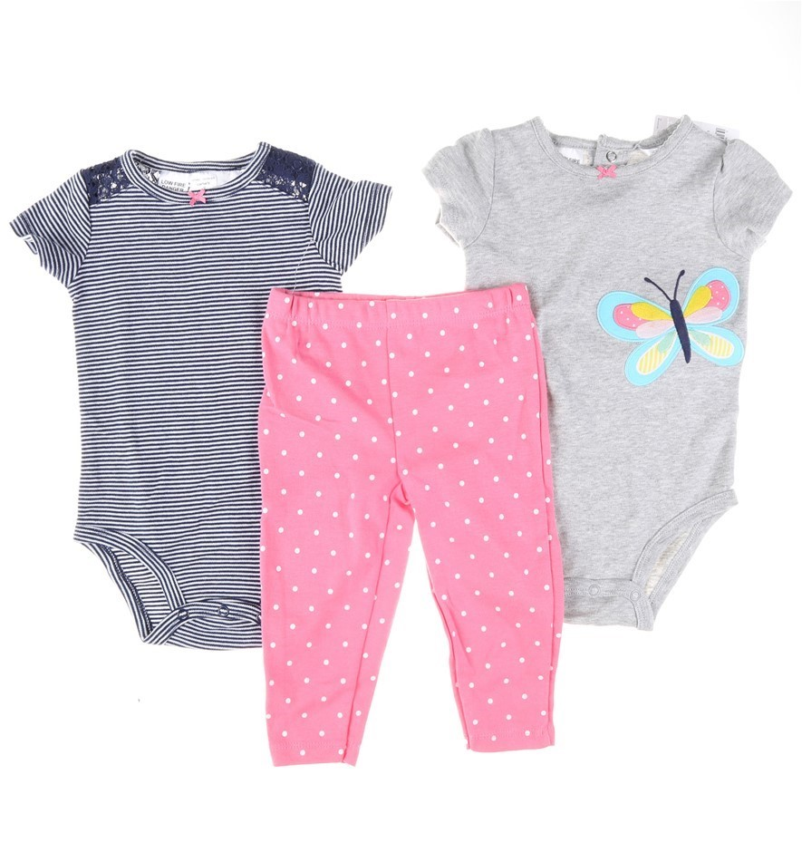 Girl`s 3pc CARTER`S Clothing Set, Size 9M, 100% Cotton, Comprising; Onesies