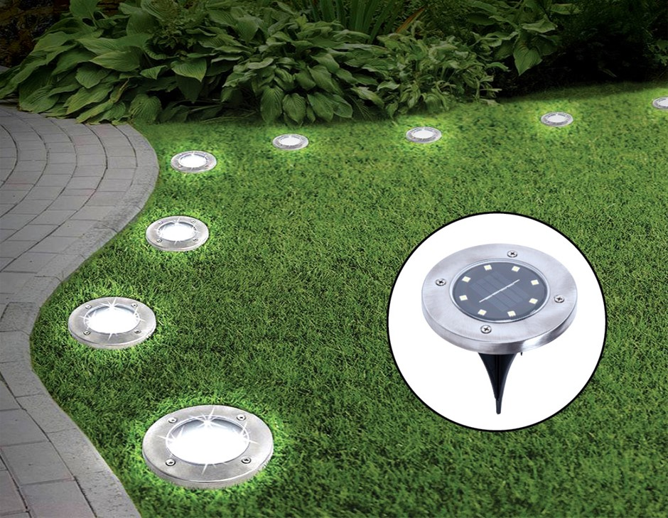 12x Solar Powered LED Buried Inground Recessed Light Outdoor Deck Path