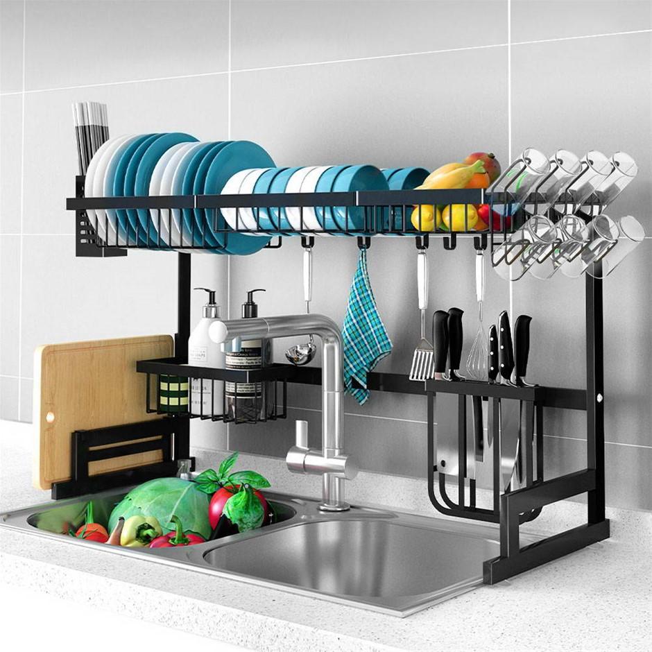 2-Tier 95cm Stainless Steel Kitchen Shelf Organizer Dish Drying Rack