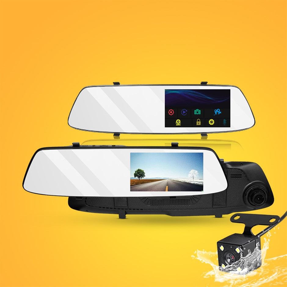 "4.3 "" Mirror Dash Camera 1080p HD Car Cam Recorder Rear-view Vehicle WDR"