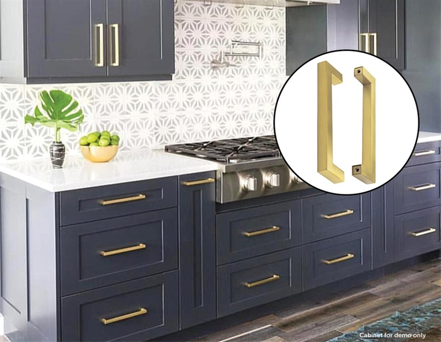 15x Brushed Brass Drawer Pulls, Brass Handles For Kitchen Cabinets