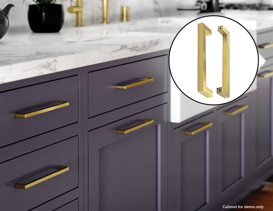 15x Brushed Brass Drawer Pulls Kitchen Cabinet Handles - Gold Finish 256mm
